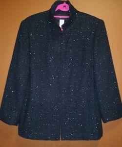 Sparkly Silver Thread Black Jacket, sz. 16